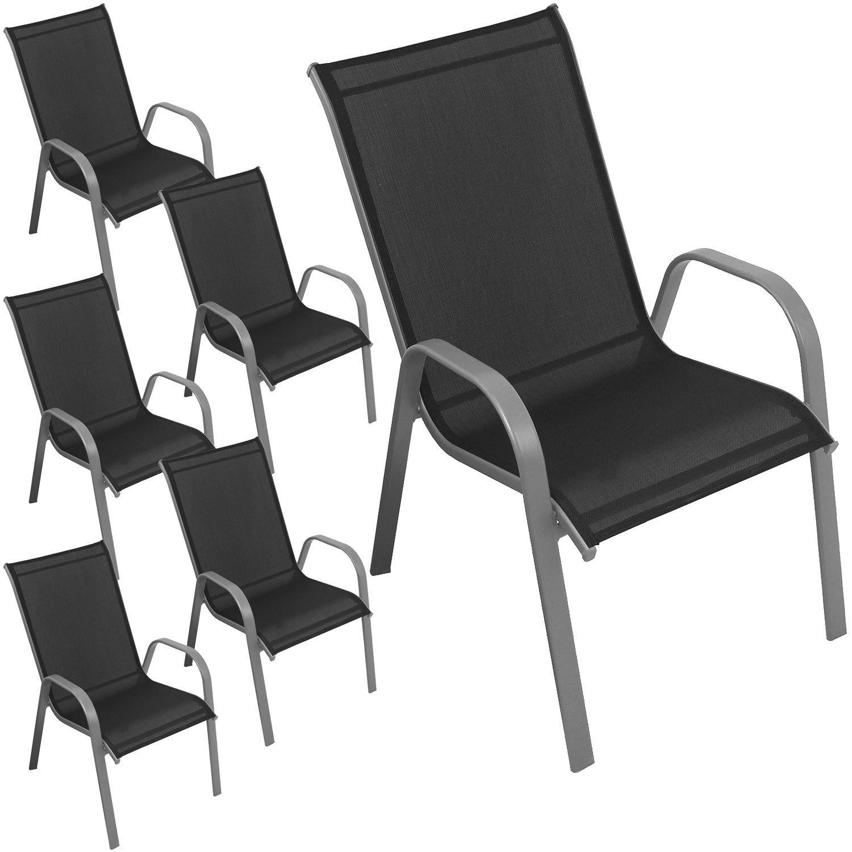 6 Stück Stapelstuhl Gartenstuhl Terrassenstuhl Balkonstuhl stapelbar pulverbeschichtet mit Textilenbespannung Silber / Schwarz