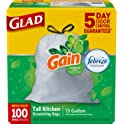 100 Count Glad OdorShield Tall Kitchen Drawstring Trash Bags