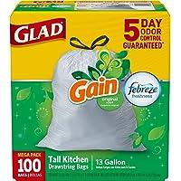 100 Count Glad OdorShield Tall Kitchen Drawstring 13 Gallon Trash Bags