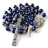 HanlinCC 8mm Lapis Lazuli Natural Beads Rosary and Glory Beads with Caps with Our Lady of Maria Center Piece and Anti-Silver Plated Crucifix with Gift Box