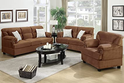 3-Pcs Sofa Set Upholstered Saddle Microfiber by Poundex