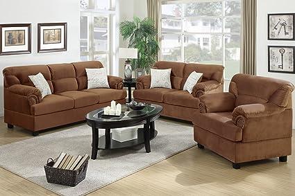 3-Pcs Sofa Set Upholstered Saddle Microfiber by Poundex