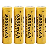 DZT1968 4Pcs 3.7V 18650 9800mah Li-ion Rechargeable Battery For LED Flashlight Torch/electronic gadgets 65x17mm (Color: Yellow, Tamaño: One Size)