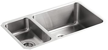 KOHLER K-3174-L-NA Undertone High/Low Undercounter Kitchen Sink, Stainless Steel
