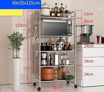 Kuchenwagen Kuchenregal Microwellen-Backofen-Rostfreier Stahl-Topf-Racks Kuchen-Zubehör Lagerregale Rack-Racks Kuchenregal ( größe : 60*35*125cm )