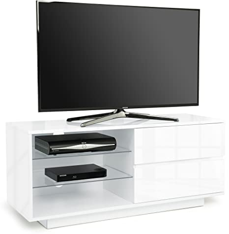 "Centurion Gallus High Gloss White with 2-White Drawers & 3-Shelf 26""-55"" LED/ OLED / LCD TV Cabinet - Fully Assembled"