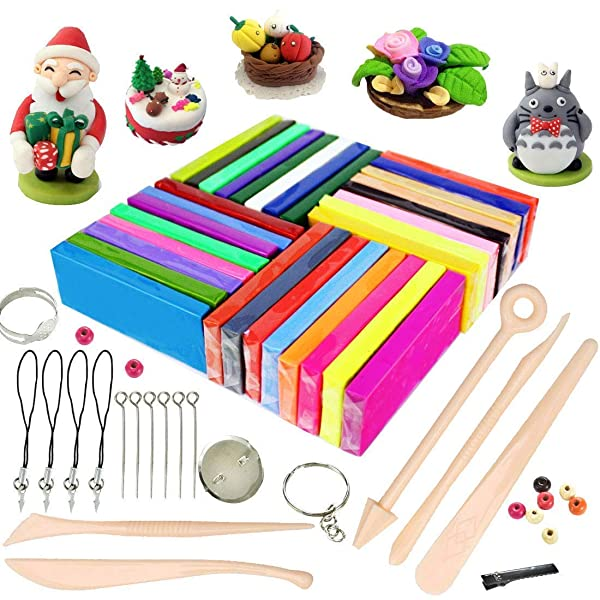 ifergoo Polymer Clay, 32 Colors Oven Bake Modelling Clay, DIY Colored Clay Kit with Modeling Tools, Tutorials and Accessories (Color: 32 Colors Polymer Clay)