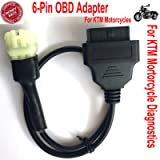 OTKEFDI 6-Pin OBD Adapter for KTM Motorcycle Motorbikes Diagnostic,6 Pin OBD2 Cable for Triumph KTM Motorbike Tuneecu-KTM 6pin to 16pin OBDII Connector (Color: Black, Tamaño: S)