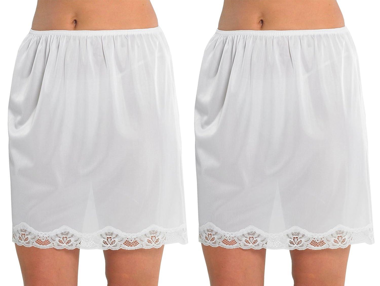 2 Pack Womens Damen Unterrock Slip mit Lace Trim 100 % Polyester resistentes Cling, 18 Zoll Länge (45cms), verschiedene Farben & Größen günstig