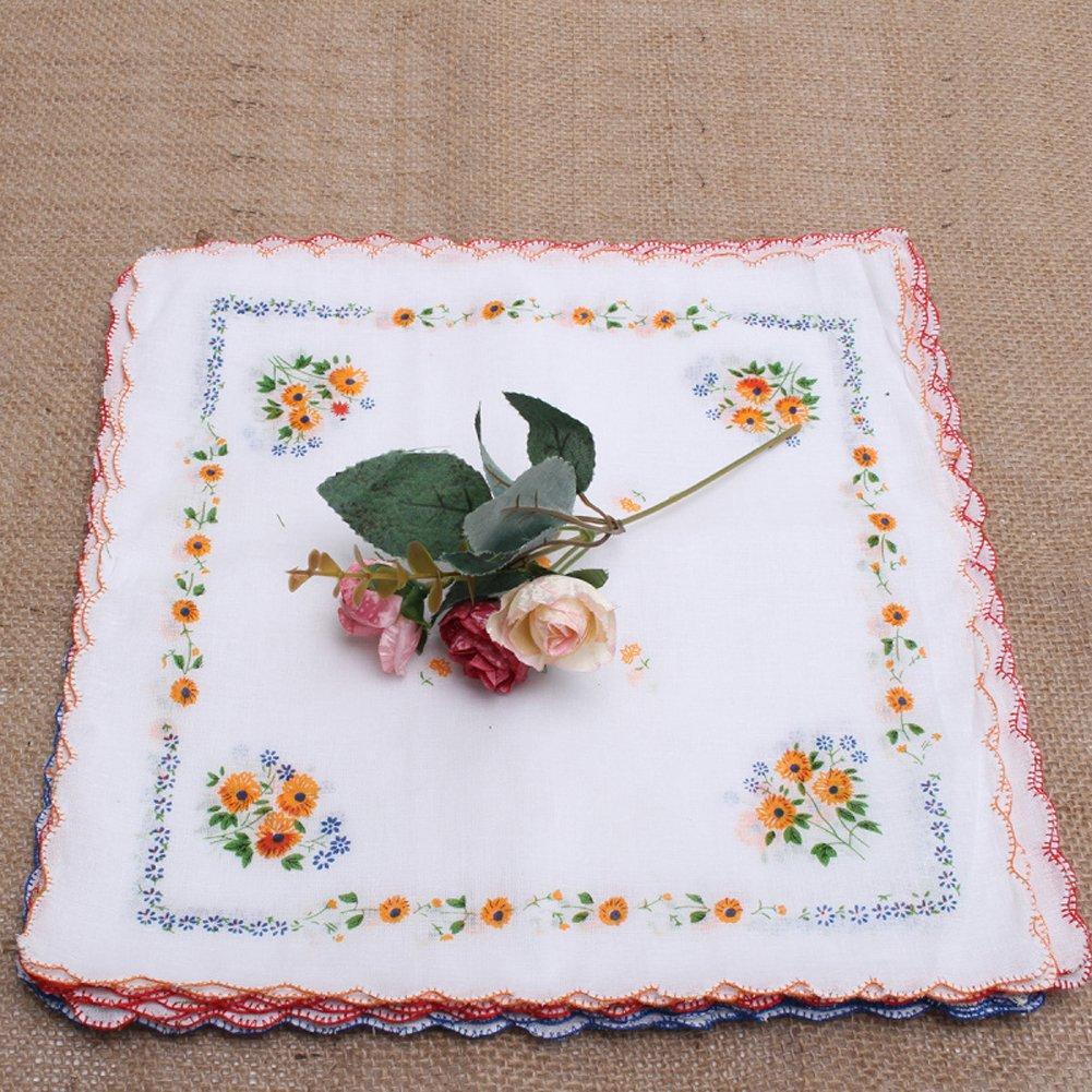 CANIS 12pcs/Set Lot Ladies Women Vintage Cotton Quadrate Hankies Floral Handkerchief 5