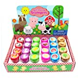 TINYMILLS 24 Pcs Barnyard Farm Animals Stampers for Kids (Color: Green, Yellow, Orange, Blue, Tamaño: 36 months)