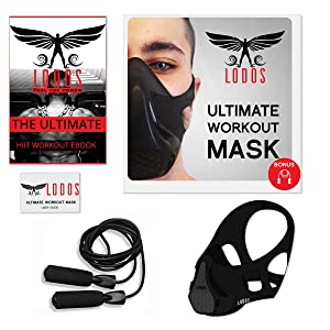 Workout Training Mask + Free Jump Rope + HIIT Workout EBOOK | High Altitude Elevation Simulation [16 Adjustable Levels]- for HIIT Endurance Training, Gym, Cardio, Running, Sports- Universal Size (Color: Black, Tamaño: Universal Size)