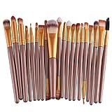 KOLIGHT Set of 20pcs Cosmetic Makeup Brushes Set Powder Foundation Eyeliner Eyeshadow Lip Brush for Beautiful Female (Gold) (Color: Gold)
