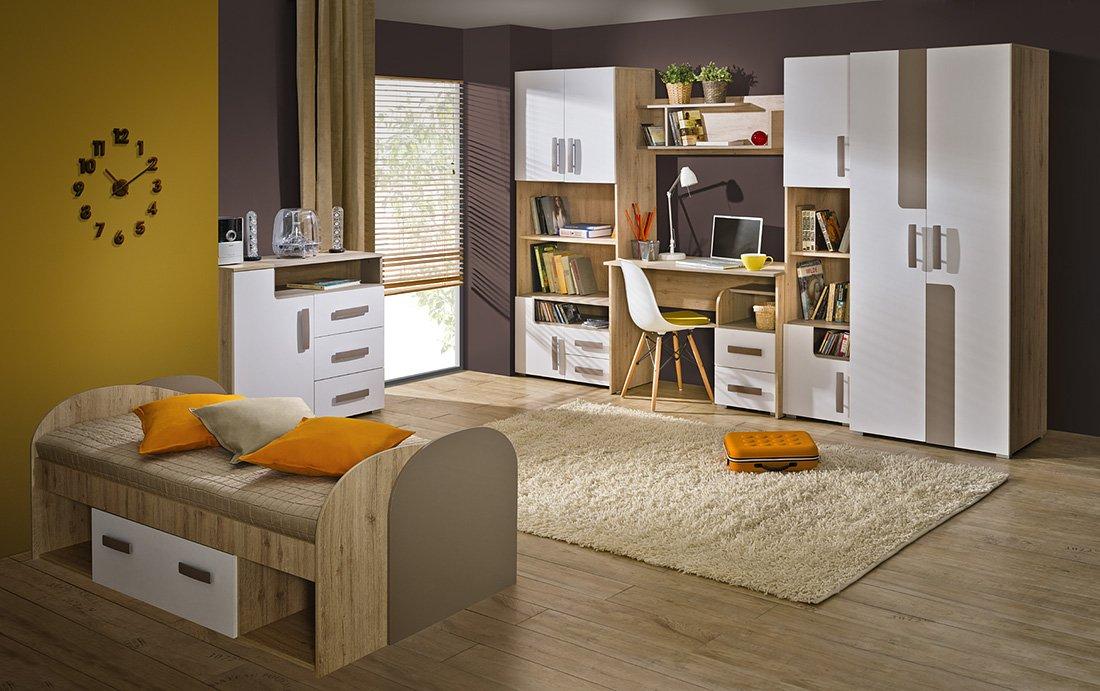 Jugendzimmer Kinderzimmer Set TREY 9-tlg. komplett, mit Schrank, Bett 200×90 mit Schubkasten, Standregal, Kommode, Schreibtisch, Container, Wandregal günstig bestellen