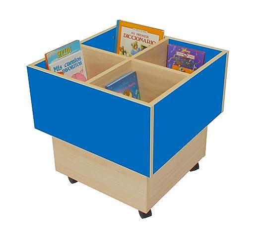 Mobeduc 602103HR20 libreria-Secchio per bambini, in legno, colore: blu scuro/faggio, 60 x 60 x 60 cm