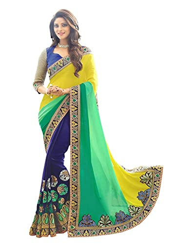 Koroshni Embroidered Yellow And Blue Half And Half Georgette Saree With Blouse Material For Party wear,Wedding,Casual sarees