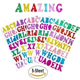 Glitter Foam Stickers Letters Self Adhesive, 5 Sheets Foam Letter Stickers Alphabet for Kid's Arts Craft Supplies Greeting Cards Scrap Books Home Decoration, 7 Colors Random