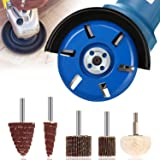 Six Teeth Power Wood Carving Disc Tool Arc Teeth Milling Cutter 90mm Diameter, Buffing Polishing Wheel Abrasive Flap Wheel Sander for Grinding and Polishing Woodworking DIY Angle Grinder Attachment