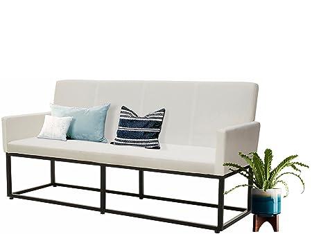 Sitzbank (Breite 160 cm, weiß) AURELIA Webstoff gepolstert. In zweii Farben erhältlich: weiß & schwarz. In 2 Größen: Breite 160 cm und Breite 200 cm