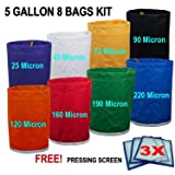 E-ONSale Herbal Ice Bubble Hash Bag Essense Extractor Kit, 5-Gallon, 8 Bag with 3 Pressing Screen (5G8B3M) (Tamaño: 5 Gallon 8 Bags with 3 Pressing Screen)