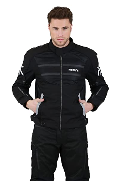 NERVE 15110710130_03 Cool Slight Blouson Moto d'Eté Textile, Noir/Argentin, Taille : M