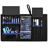KeeKit Precision Screwdriver Set, 76 in 1 Professional Repair Tools Kit with 56 Bits, Magnetic Driver Kit with Portable Bag for iPhone, iPods, Game Console, Tablet, PC, Smartphones, Computer, etc (Color: Blue - 76 in 1 CRV)