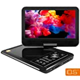 APEMAN 10.5'' Portable DVD Player with Swivel Screen Remote Control Support SD card USB DVD AV In/Out Earphone Speaker 5 Hours Built-in Rechargeable Battery for TV Kids Car Travel Companion (Color: Black, Tamaño: 10.5Inch)