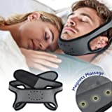 Anti Snoring Chin Strap - Breathable & Naturally Stop Snoring Device, Patent Design w/Promoting Blood Circulation Magnets, Adjustable Snore Reduction Belt for Men & Women to Improve REM Sleep (Grey) (Color: Grey)