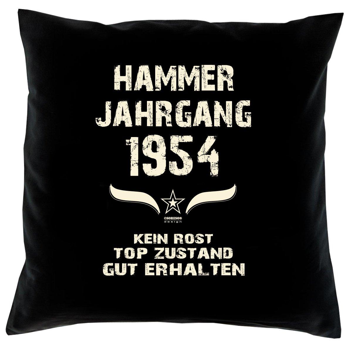 Cooles – Fun – Kissen – Sitzkissen – Zum 62. Geburtstag – Hammer Jahrgang 1954 Farbe: Schwarz – Größe: 40 x 40 cm günstig