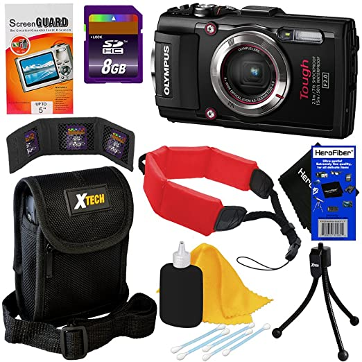 Olympus Stylus Tough TG-3 Waterproof & Shockproof 16 MP Wi-Fi Digital Camera with 4x Optical Zoom and Full HD 1080p Video Black  8pc Bundle 8GB Accessory Kit w/ HeroFiber Ultra Gentle Cleaning Cloth