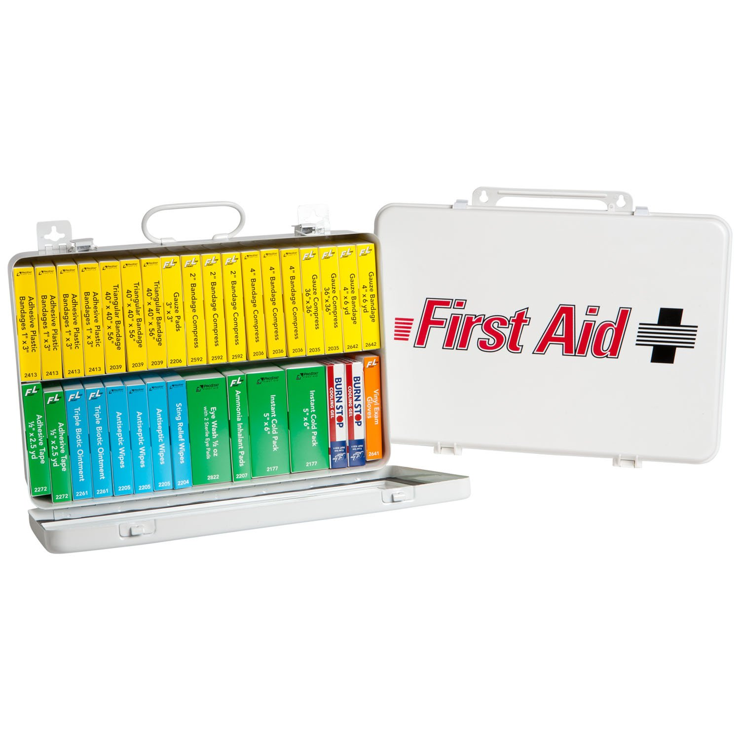 ProStat First Aid 0909 194 Piece 36 Unit ANSI Compliant First Aid Kit with Steel Case kitcox70427fao4001 value kit first aid only inc alcohol cleansing pads fao4001 and glad forceflex tall kitchen drawstring bags cox70427