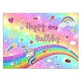 Allenjoy 7x5ft Glittle Cartoon Rainbow Backdrop for Fashion Girl 1st Birthday Sweet 16 Happy 18 Dream Crazy Big Theme Background Baby Kids Unicorn Party Banner Photo Booth Props (Color: JOJO, Tamaño: 7'x5')