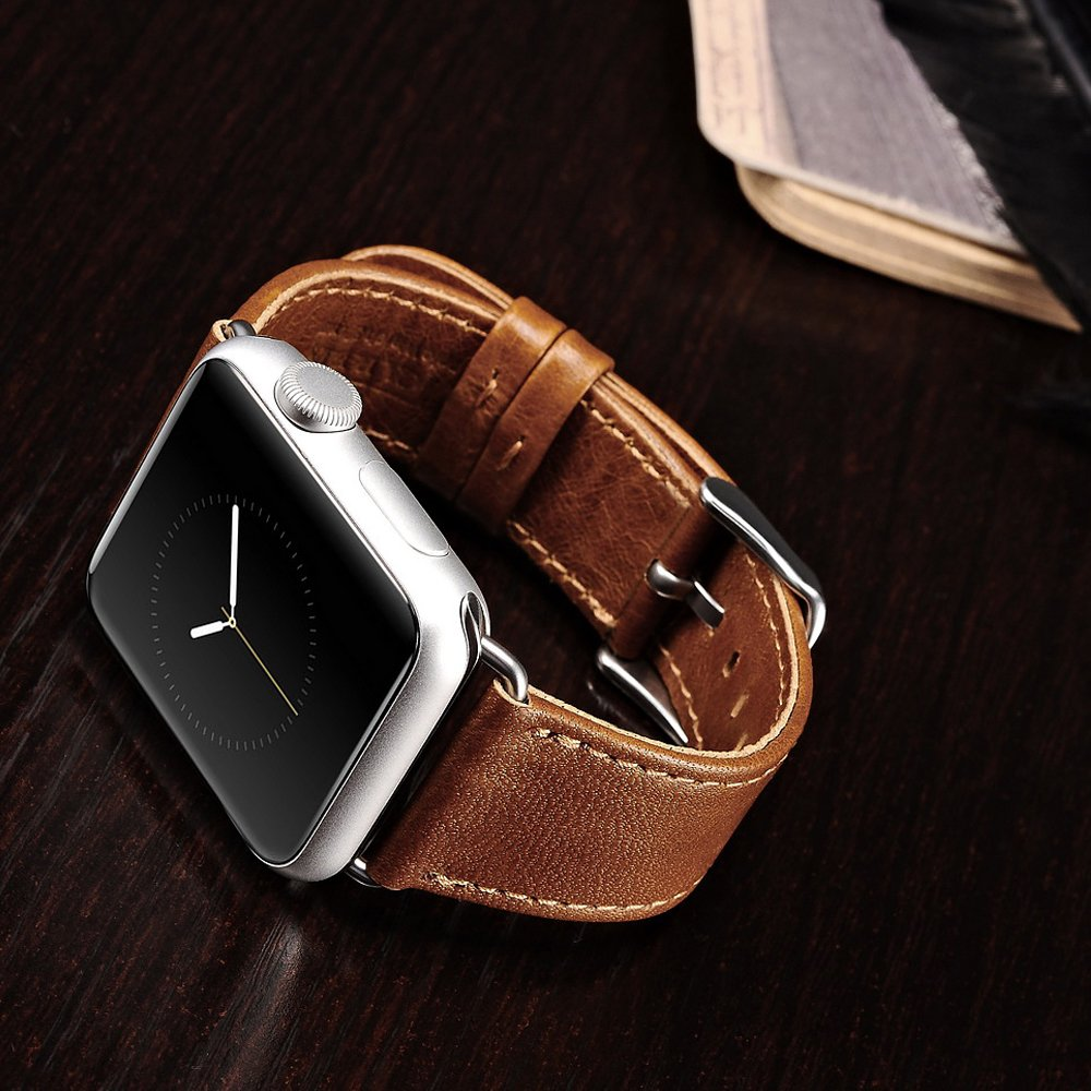 Apple Watch Leather Band, Icarercase Vintage Series Genuine Leather Watchband Strap Replacement iWatch Wristband Link Bracelet with Secure Metal Clasp Buckle for Apple Watch (Brown for 42mm) 4