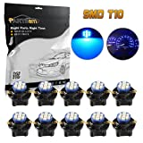 Partsam 10pcs PC194 T10 Blue LED Bulbs Instrument Dashboard Lights 8-Epistar-3020-SMD With Sockets 5/8 Inch 16mm Hole Diameter (Color: Blue)
