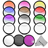 58MM Professional Filter Kit for CANON Rebel T5i T4i T3i T3 T2i T1i XT XTi XS XSi, EOS 700D 650D 600D 550D 500D 450D 400D 350D 300D 1100D 100D DSLR Cameras - Includes Vivitar Filter Kit (UV, CPL, FLD) + Star Filter Set (4, 6 and 8 points) + Graduated Color Filter Set (Blue, Red, Yellow, Green, Orange, Purple, Grey, Pink and Coffee) + MagicFiber Microfiber Lens Cleaning Cloth