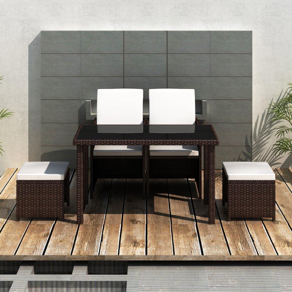 vidaXL Poly Rattan Gartenmöbel Essgruppe Gartenset 2 Stühle Hocker jetzt kaufen