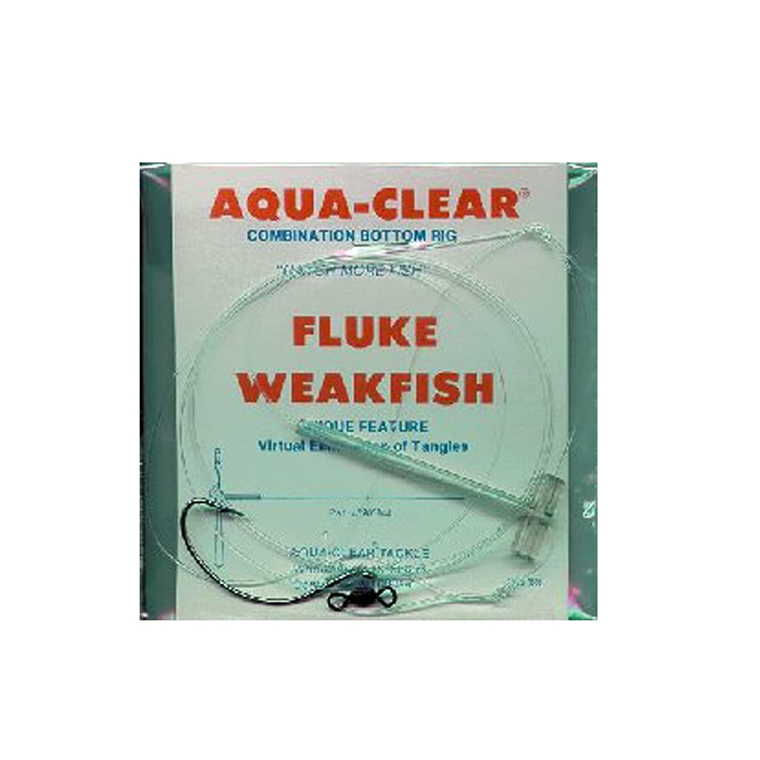 AquaClear Fluke/Weakfish Rigs Single Leader Plain or Pearl/Spinner Stainless Steel Wide Gap Hook