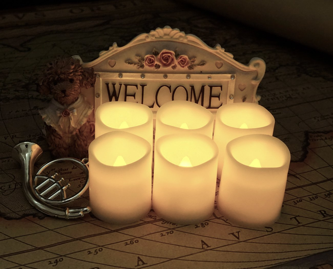 70+ Hours of Lighting, 6 Extra Batteries Included, LED Candles, Flameless Candle Set, Votive Candles, Centerpieces, Wedding Decor