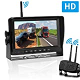 RV Dual Digital Wireless Backup Camera Kit with 7 Inch LCD Monitor Trailer Rear View Front View Camera Without Difference Color No Interference IP69 Waterproof Latest Wide-Angle Camera (Tamaño: A-7''SZWX)