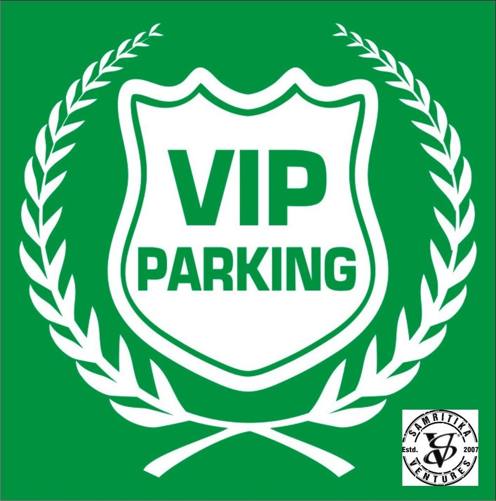 Car parking stickers design india - Vip Parking In Green White Car Safety Decal Sticker Decor Sign