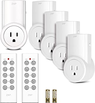 5-Pack Etekcity Wireless Outlet Light Switch w/2 Remotes