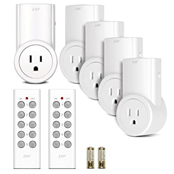 Etekcity Wireless Remote Control Electrical Outlet Switch for Household Appliances (Learning Code, 5Rx-2Tx)