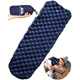 WellaX Ultralight Air Sleeping Pad – Inflatable Camping Mat for Backpacking, Traveling and Hiking – Super Comfortable Air Cells Design for Better Stability & Support –Plus Repair Kit (Blue)