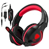 Xbox One, PS4 Gaming Headset , Headphones with Mic and LED Light for Laptop Computer,Stereo Gamer Headphones,3.5mm Wired Noise Isolation Gaming Headphones (Red) (Color: Red)