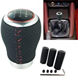 Arenbel New Universal Black Manual 5 Speed Car Gear Stick Shift Knob Cool Leather Shifter Lever Fit Most Cars (Black Red) (Color: Black Red)