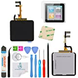 OmniRepairs LCD Display with Glass Digitizer Touch Screen Assembly For iPod Nano 6th Gen (Generation) with Screen Protector, Adhesive and Repair Toolkit (Black) (Color: Black)