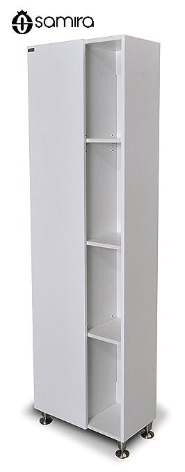 Mobile arredo bagno in legno mdf laccato bianco - armadio/libreria sospesa mod.Artù