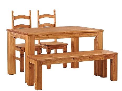 Brasilmöbel Esstisch Rio Classico 160x90 cm + 2 x Stuhl Rio Mexiko + Sitzbank Rio Classico Farbton Honig