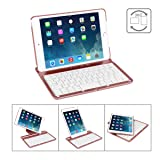 Cstorm iPad Mini 4 Bluetooth Wireless Keyboard Case Ultra Thin Auto Sleep Wake up 360 Rotatable Stand Silent Typing Smart Folio Protective Dust-Proof Cover (Color: Rose Gold (for ipad mini 4))
