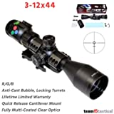 PRESMA 3-12X44 Scope with Clear Optics, 30mm Body, Fully Multi-Coated Lenses, RGB Illumination, Sunshade, Cantilever Quick Release Mount, Lifetime Limited Warranty (Color: Black)